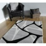 Grey & Black Soft Geometric Rug Rumba 80×150
