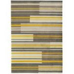 Baraki Grey & Yellow Stripe Acrylic Rug