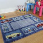 Kid's Cheap Blue Racing Car Anti Shed Quality Play Mat 80x100cm
