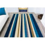 Modern Striped Teal Blue Rugs Havana – 80cm x 150cm