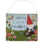 Fun Multi Coloured Metal Gnome Garden Sign