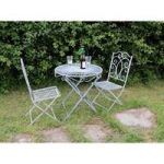 Two Seater Grey Bistro Garden Table & Chairs Set