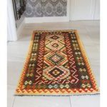 Hand Made Orange Veg Dye Kelim Oriental Runner Rug