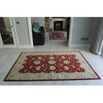 Cream & Red Oriental Ziegler Wool Rug